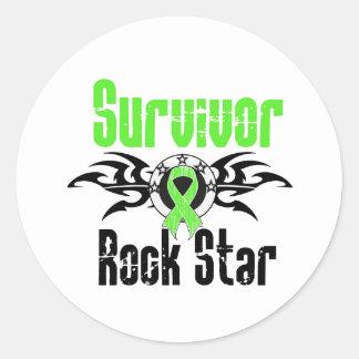 Estrella del rock del superviviente - linfoma de pegatina redonda