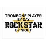 Estrella del rock del Trombone por noche Postales
