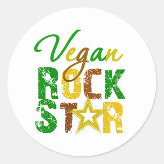 Estrella del rock del vegano pegatina redonda