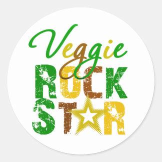 Estrella del rock del Veggie Pegatina Redonda