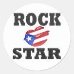 Estrella del rock etiqueta redonda