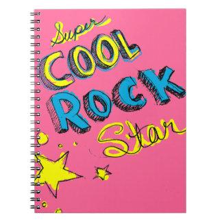 Estrella del rock fresca estupenda libro de apuntes con espiral