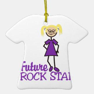 Estrella del rock futura adorno de cerámica en forma de playera