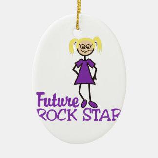 Estrella del rock futura adorno ovalado de cerámica