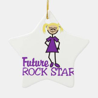 Estrella del rock futura adorno de cerámica en forma de estrella