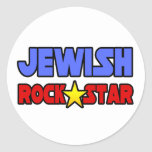 Estrella del rock judía pegatinas redondas