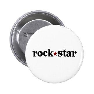 Estrella del rock pin redondo de 2 pulgadas