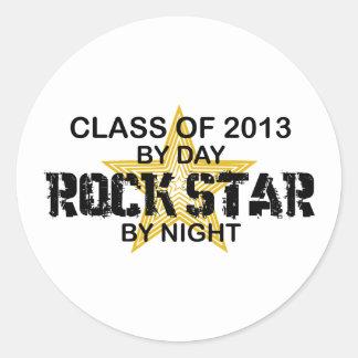 Estrella del rock por la noche - 2013 pegatina redonda