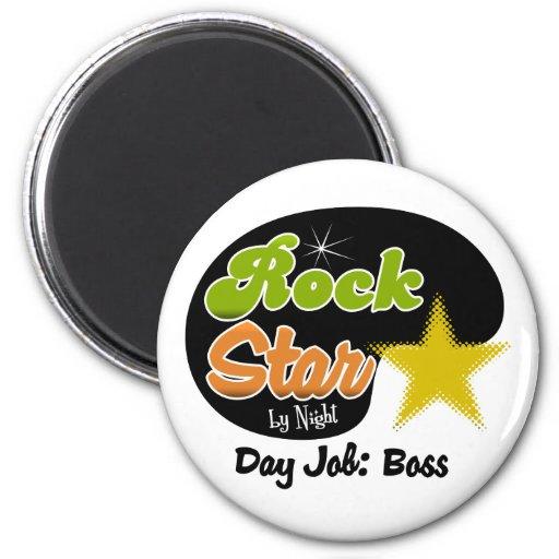 Estrella del rock por la noche - trabajo Boss del  Imán Redondo 5 Cm