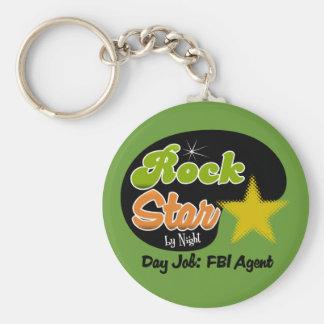 Estrella del rock por noche - agente del FBI del t Llavero Redondo Tipo Pin