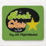 Estrella del rock por noche - asistente de vuelo d alfombrillas de ratón