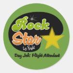 Estrella del rock por noche - asistente de vuelo pegatina redonda