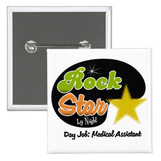Estrella del rock por noche - auxiliar médico del pin cuadrado