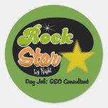 Estrella del rock por noche - consultor del trabaj etiquetas redondas