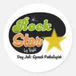 Estrella del rock por noche - patólogo de discurso etiquetas redondas