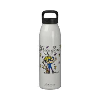 Estrella del rock rubia del muchacho botella de agua reutilizable