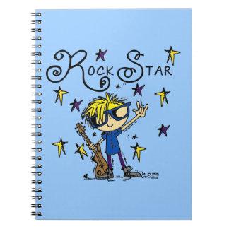 Estrella del rock rubia del muchacho libro de apuntes con espiral