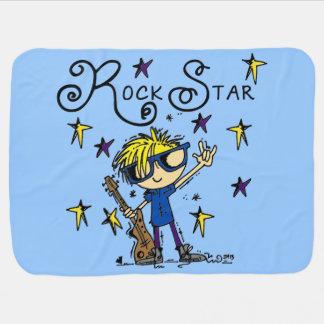 Estrella del rock rubia del muchacho mantitas para bebé