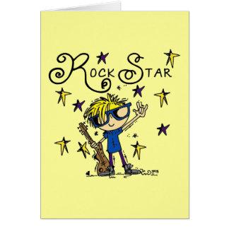 Estrella del rock rubia del muchacho tarjeta pequeña