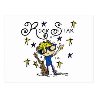 Estrella del rock rubia del muchacho tarjeta postal