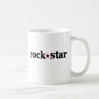 Estrella del rock taza básica blanca