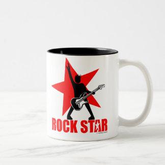 Estrella del rock taza de café de dos colores