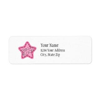 Estrella del rosa de rock de los chicas etiquetas de remite