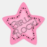 Estrella del rosa de rock de los chicas calcomanía forma de estrella