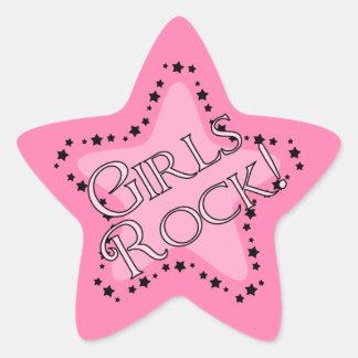 Estrella del rosa de rock de los chicas pegatina en forma de estrella