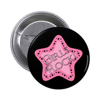 Estrella del rosa de rock de los chicas pin redondo de 2 pulgadas