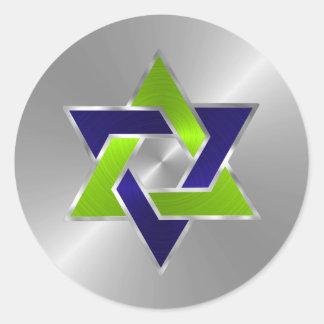 Estrella del sello del sobre de David Pegatina Redonda