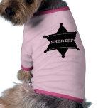 Estrella del sheriff - negro y blanco camisa de perro