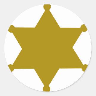Estrella del sheriff pegatina redonda