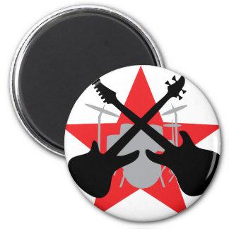 estrella del tambor de la guitarra de la banda imán redondo 5 cm