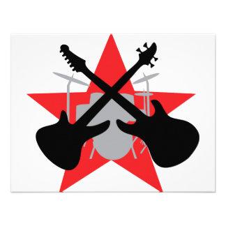 estrella del tambor de la guitarra de la banda invitaciones personalizada