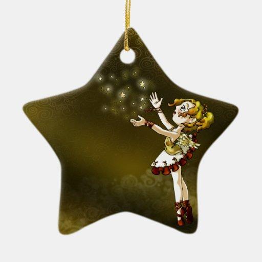 Estrella del tintineo adorno navideño de cerámica en forma de estrella
