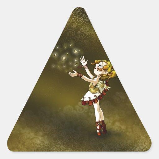 Estrella del tintineo pegatina triangular