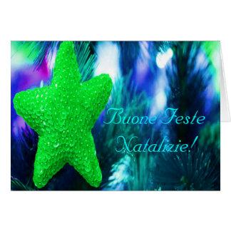 Estrella del verde de Buone Feste Natalizie del Tarjeta De Felicitación