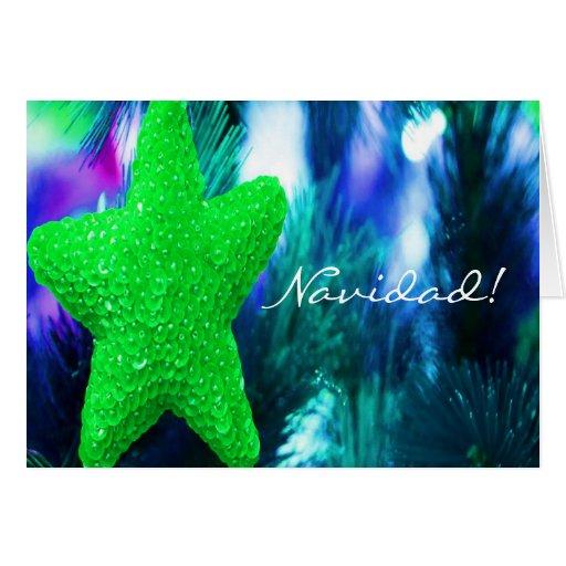 Estrella del verde de Navidad del navidad III Felicitación