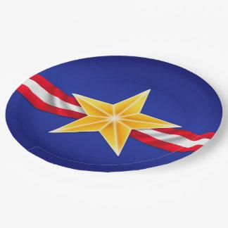 Estrella del veterano plato de papel de 9 pulgadas