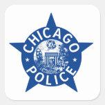 ESTRELLA del VINTAGE de la policía de Chicago Calcomania Cuadrada Personalizada