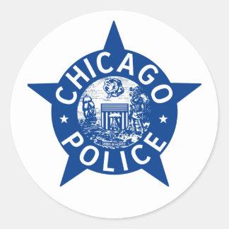 ESTRELLA del VINTAGE de la policía de Chicago Pegatina Redonda