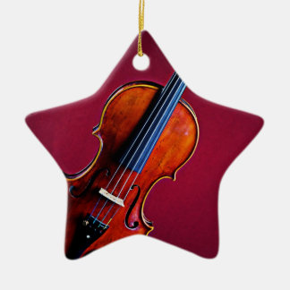 Estrella del violín o del ornamento de la viola adorno navideño de cerámica en forma de estrella