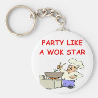 estrella del wok llavero redondo tipo pin