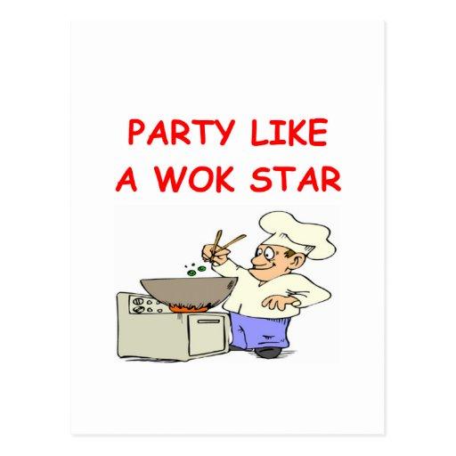 estrella del wok tarjetas postales