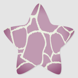 Estrella elegante del modelo de la jirafa: rosa pegatina en forma de estrella