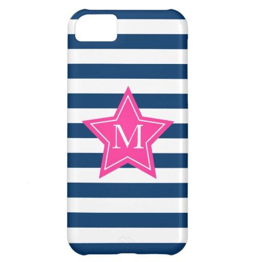 Estrella elegante y caso del iPhone 5C del monogra Funda iPhone 5C