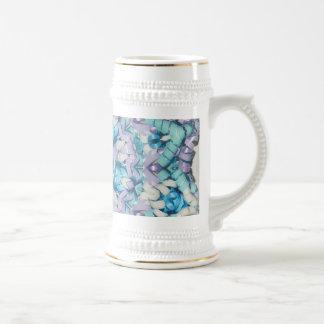Estrella en colores pastel de la cinta púrpura y a tazas de café
