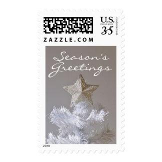 Estrella en el árbol de navidad artificial sellos postales
