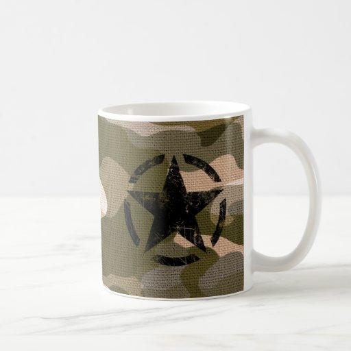 Estrella en estilo de la arpillera taza clásica